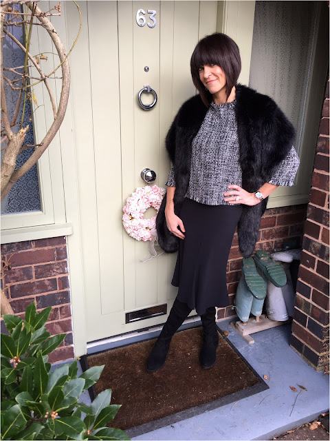 My Midlife Fashion, Zara Tweed boucle top, midi skirt, kick and flare midi skirt, schuh dash over the knee boots