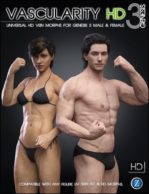 Vascularity HD for Genesis 3 Female and Genesis 3 Male