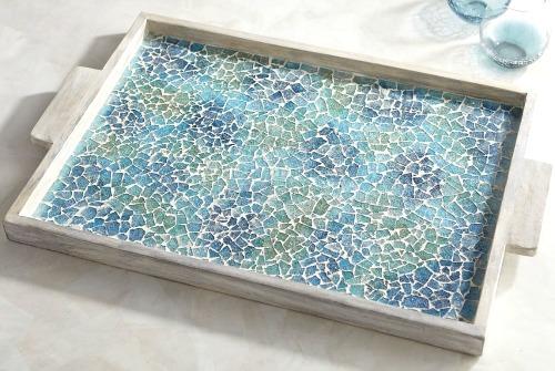 Sea Glass Inspired Mosaic Tray