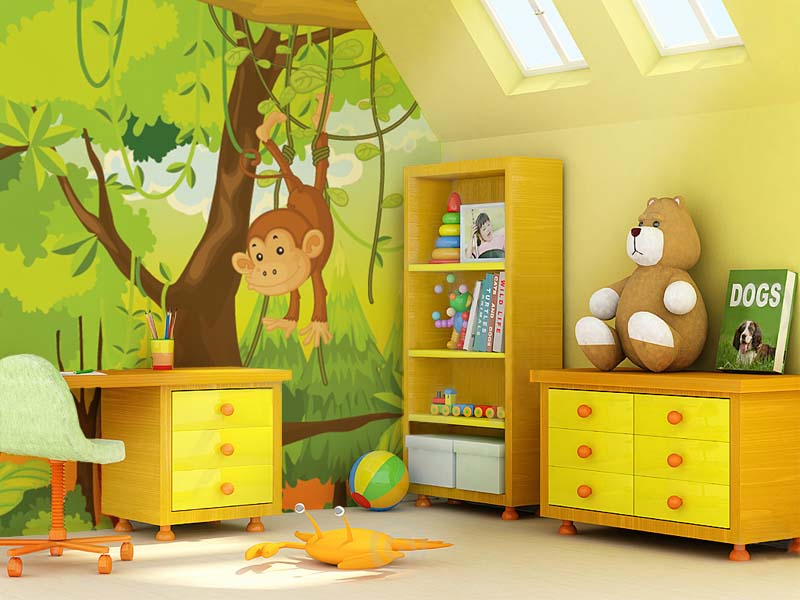 Art And Home Wallpaper Hd Child S Room Painting Yellow Colour Ideas