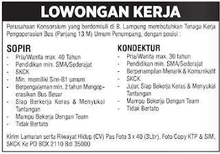 Open Rekrutment Perusahaan Konsorsium Lampung Terbaru Mei 2016