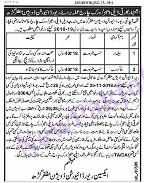 Work Charge Jobs in Muzaffargardh November 2018