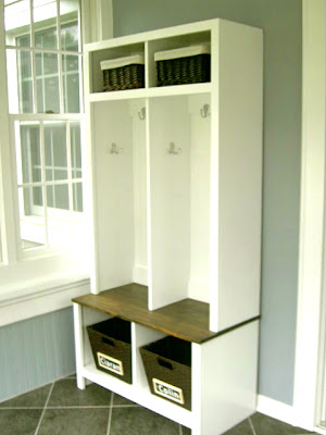 diy entryway locker and bench cubby units with baskets