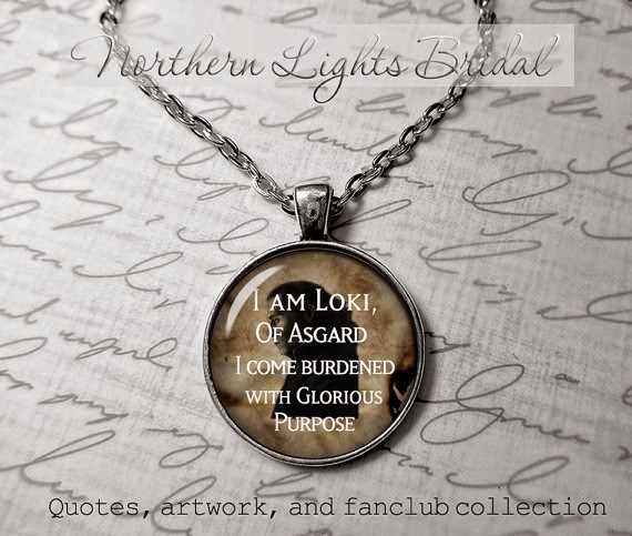 I am Loki of Asgard pendant quote necklace