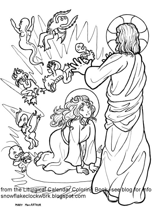 Snowflake Clockwork: St. Mary Magdalen coloring page