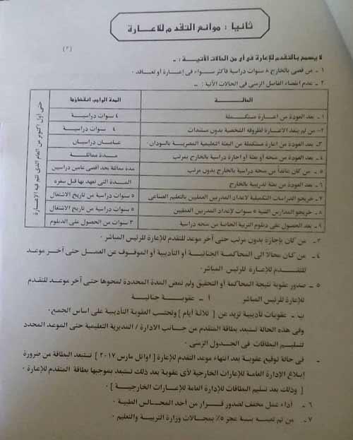 موانع التقدم لاعارة المصريين للخارج 2018