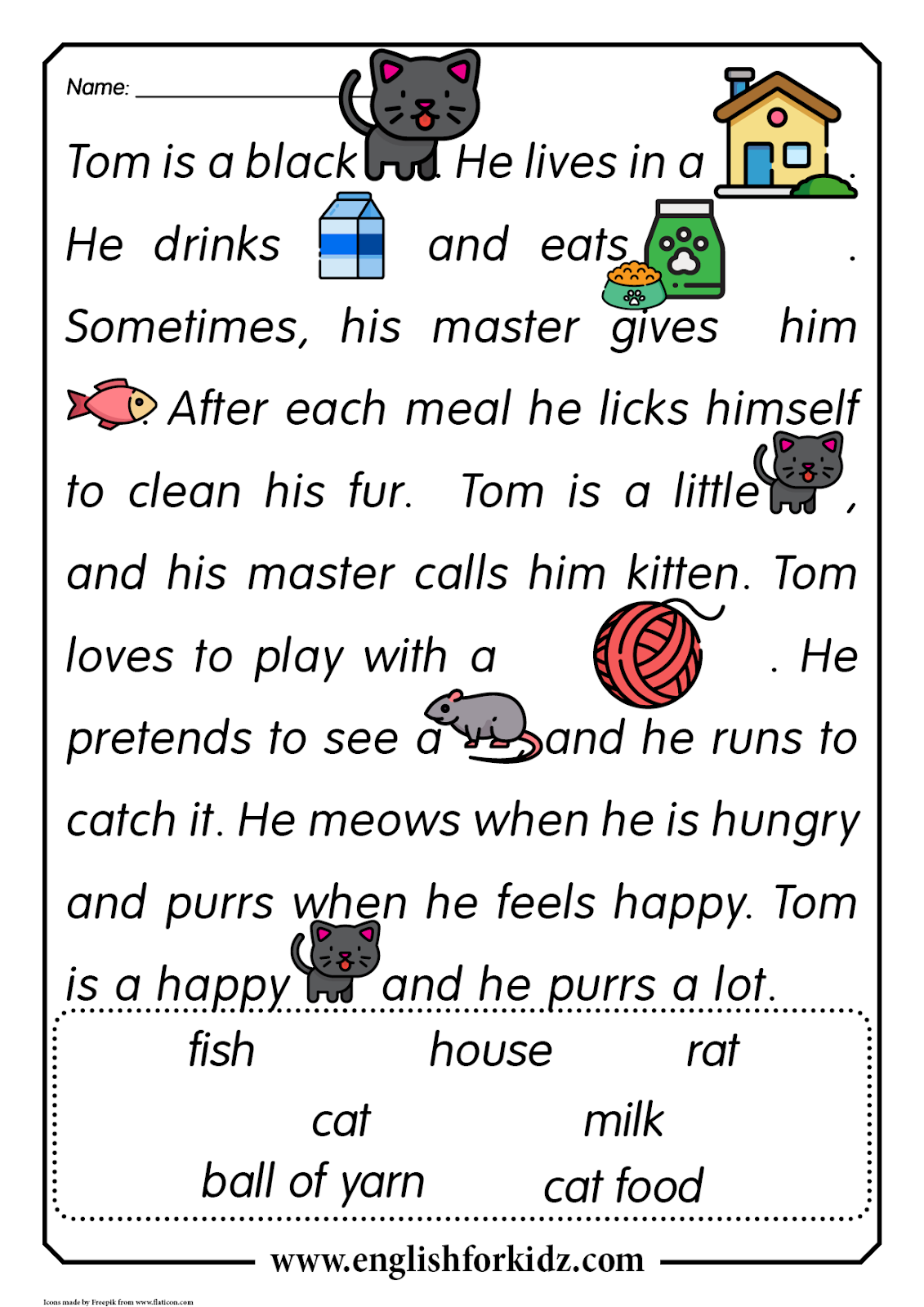 Reading Comprehension Worksheets Thomas The Cat