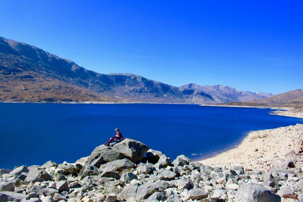 Dark blue Loch Cluanie in the middle of Highlands