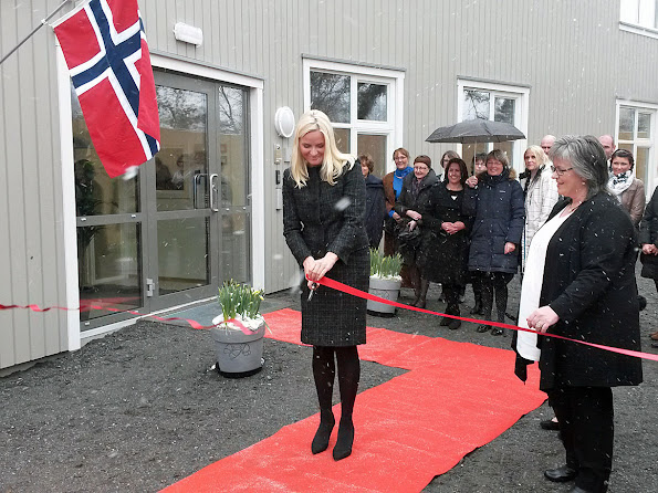 Princess Mette-Marit of Norway attended the opening of a shelter for homeless people at Kongsberg