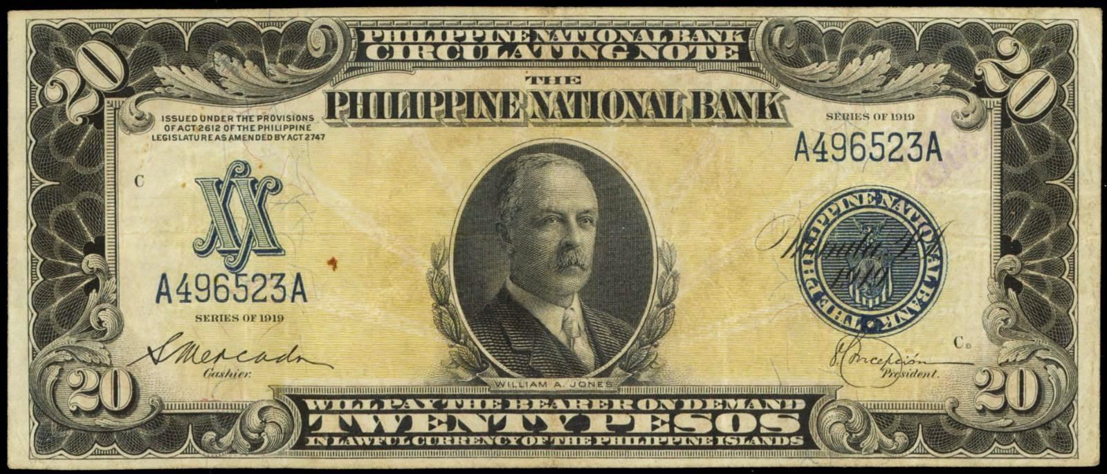 Philippines banknotes 20 Pesos Note 1919 Congressman William Jones