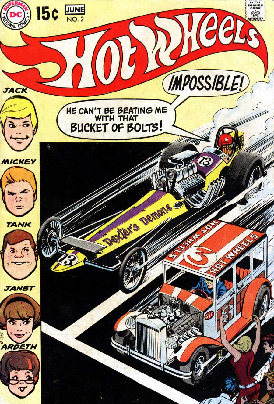 Hot Wheels v1 #2 dc 1970s bronze age comic book cover art by Alex Toth