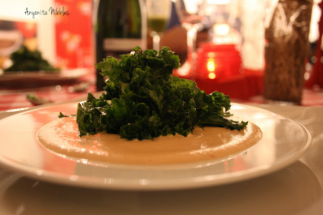 A raw salad of kale with raw food dressing