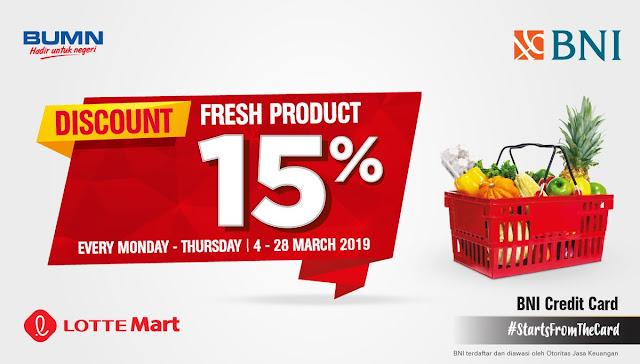 #BankBNI - #Promo Diskon 15% Fresh Produk di LotteMart & Lotte Supermarket (s.d 28 Mar 2019)