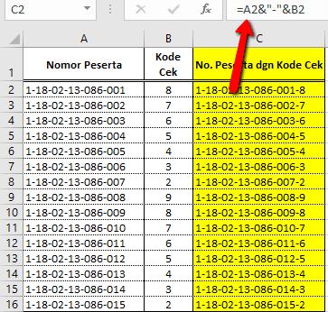 langkah menggunakan Rumus Fungsi Excel untuk menggabungkan teks isi sel