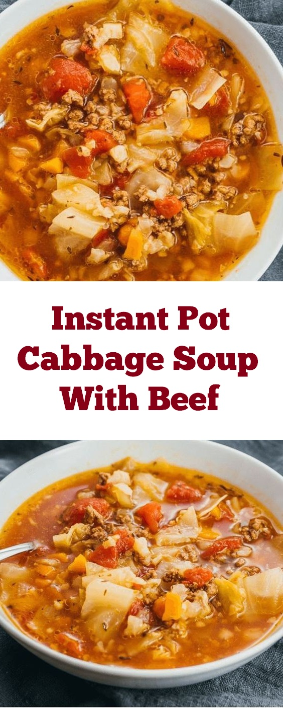 An easy cozy recipe for Instant Pot cabbage soup with ground beef and tomatoes. Like an unstuffed cabbage roll soup, and the pressure cooker makes it a breeze to cook. | dinner recipe | easy dinner recipe | instant pot recipe | beef recipe | crockpot recipe #instantpot #dinner #dinnerideas #crockpot #beef