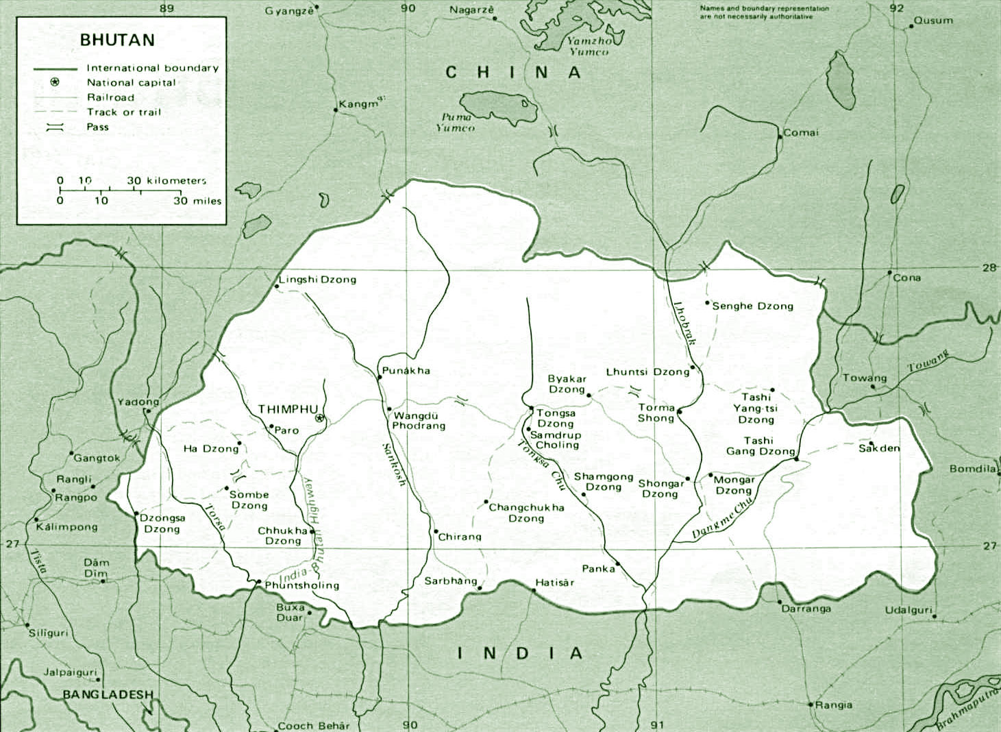 image: Bhutan Political Map