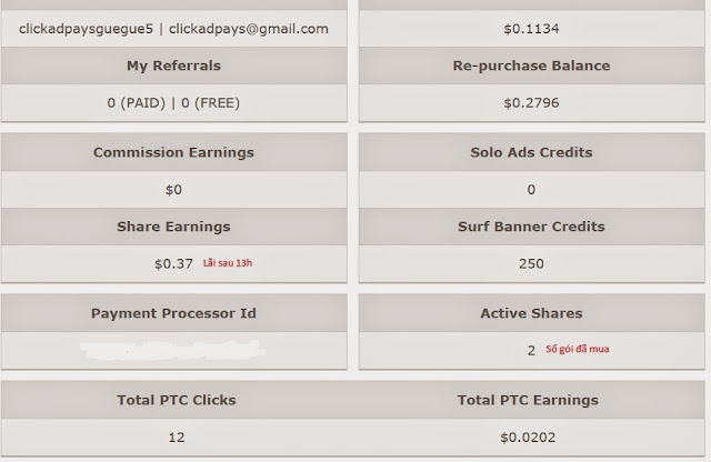Thông tin tài khoản Clickadpays