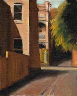 Oil painting of double storey Victorian-era buildings and a tree viewed from a laneway.