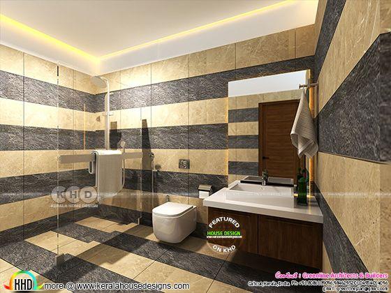 Modern bathroom interiors in Kerala