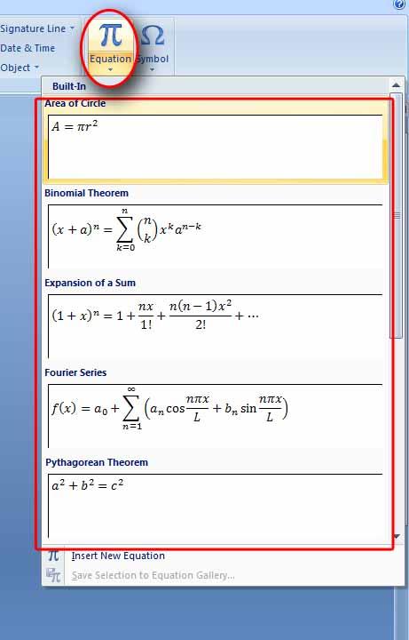 Menyisipkan Rumus/Simbol Matematika di Ms. Word 2007