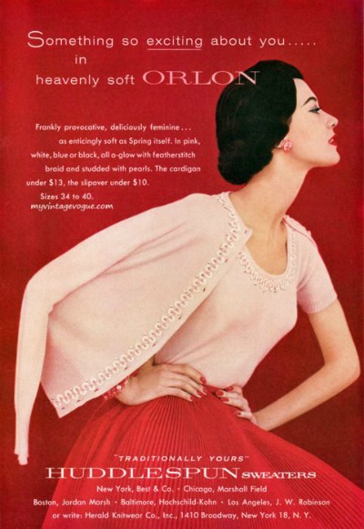 Model wearing Sweater Twinset made of Orlon for 1955 Huddlespun Ad