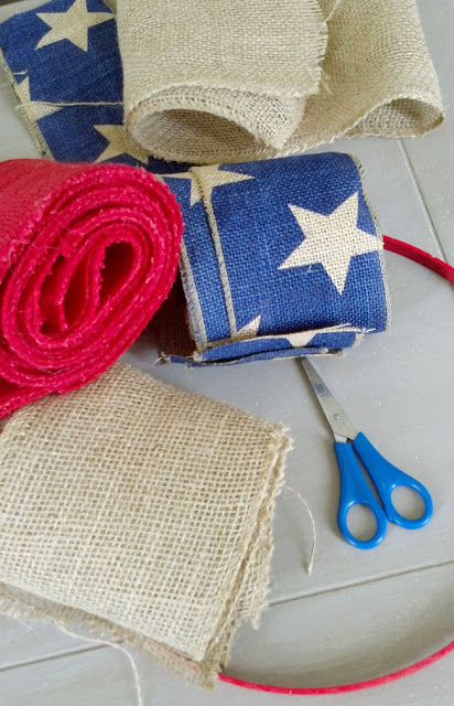 Red, white and blue burlap ribbon
