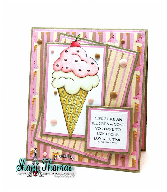 Ice Cream birthday card with Digital Delights Ice Cream Parlor Accessories digital stamps, by Paperesse.