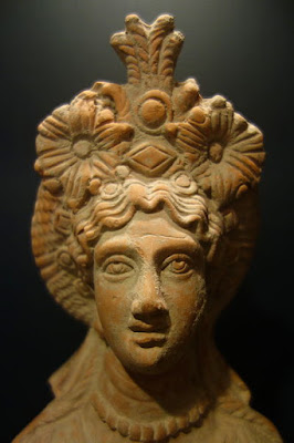 The Goddess wearing ornate crown terracotta Bust of Egypt between 10 BCE and 40 CE Huntington Museum of Art, West Virginia, USA