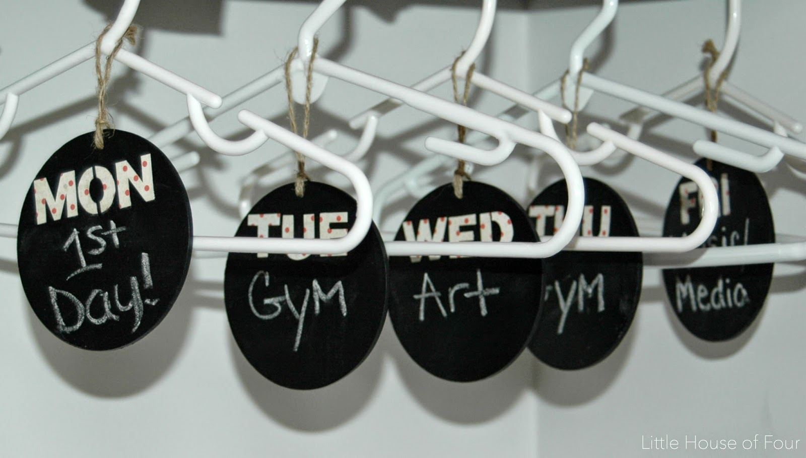 Chalkboard tags hung on hangers