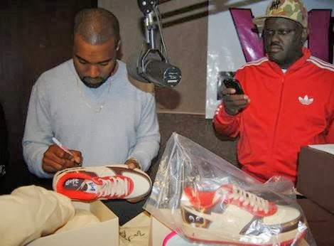 d2079c18aacc Here is some incredible photos of Kanye West Autographing DJ Greg Street s  Air Yeezy Collection   Bape Sneakers