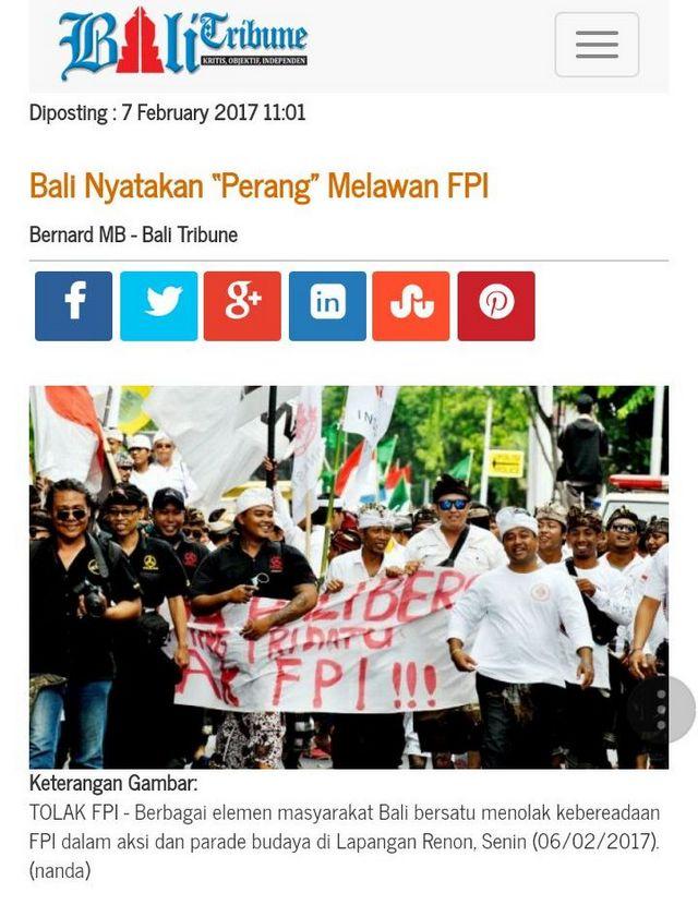 bali fpi - Akhlak Mulia FPI di Bali, Air Tuba Dibalas Air Susu