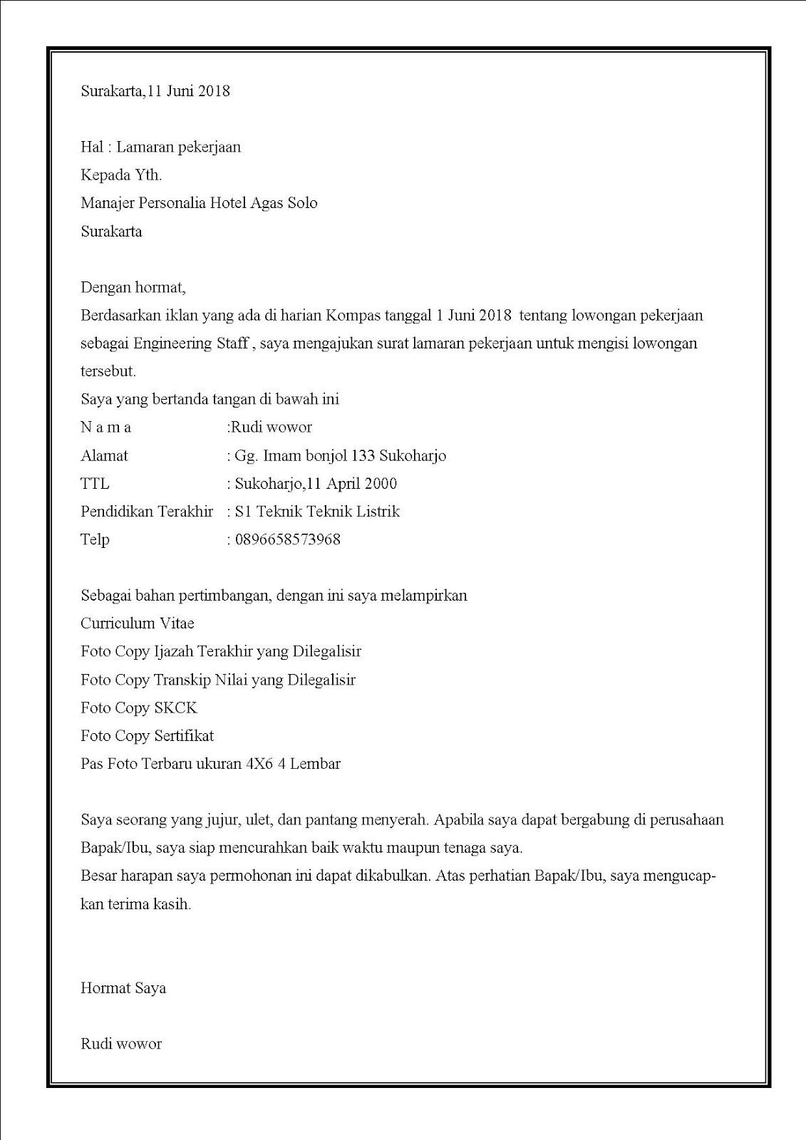 Contoh surat lamaran kerja di hotel bagian engineering