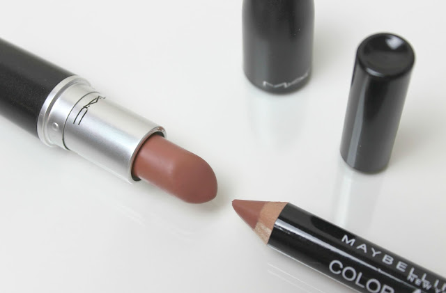 A picture of MAC Velvet Teddy and Maybelline Color Drama Intense Velvet Lip Pencil in Nude Perfection