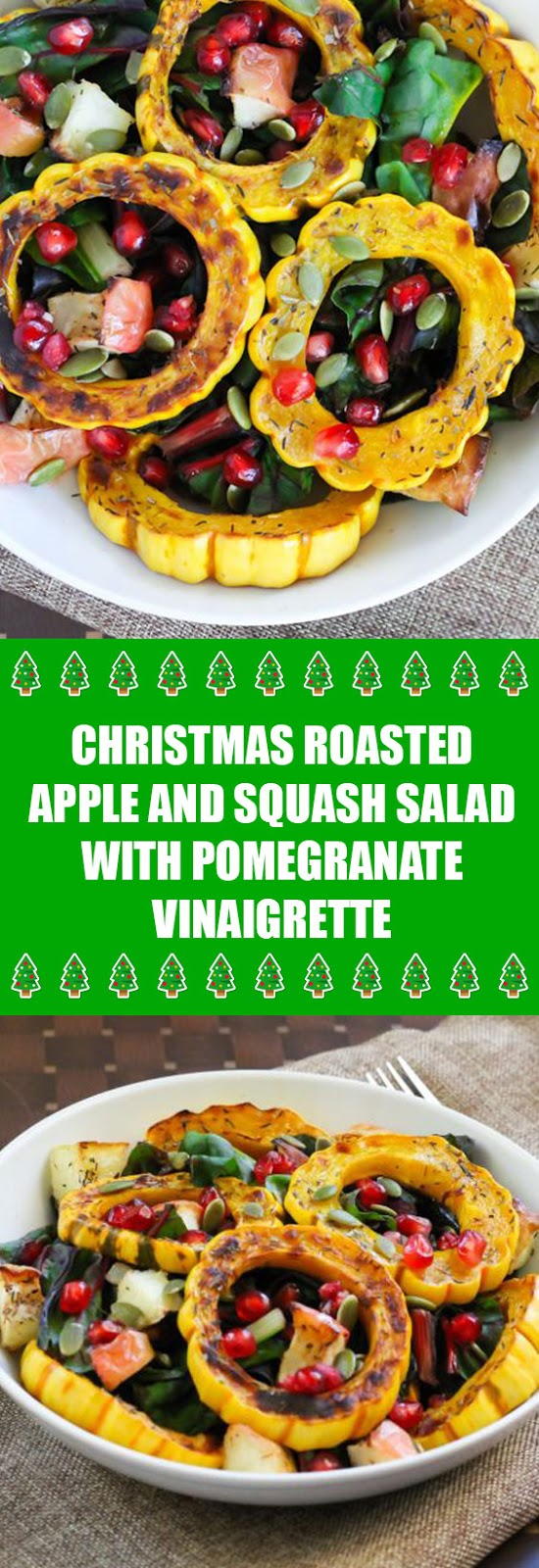 Christmas Roasted Apple and Squash Salad with Pomegranate Vinaigrette