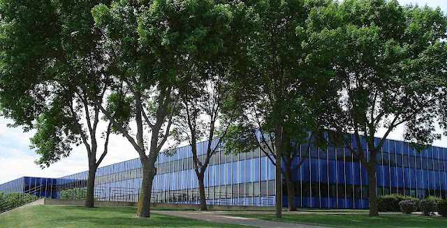 a blue Eero Saarinen designed factory