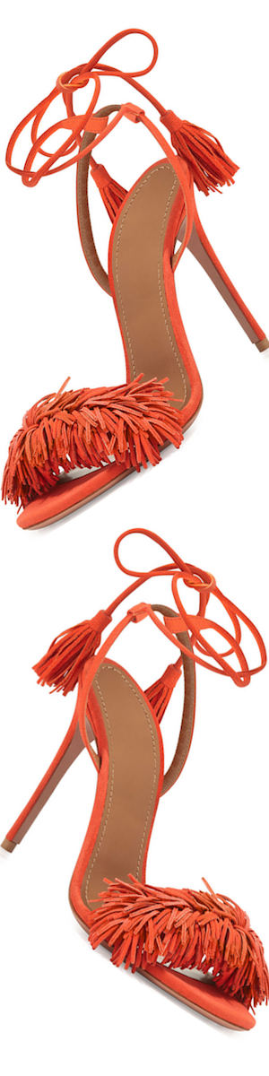 Aquazzura Wild Thing Suede Sandal, Clementine