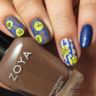 hand-painted yellow flower nail art manicure