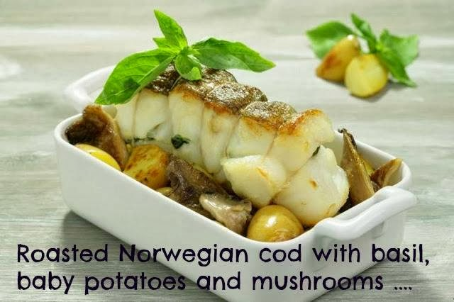 Roasted Norwegian Cod With Basil, Baby Potatoes And Mushrooms