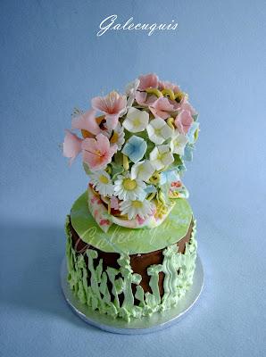 tarta busto con flores