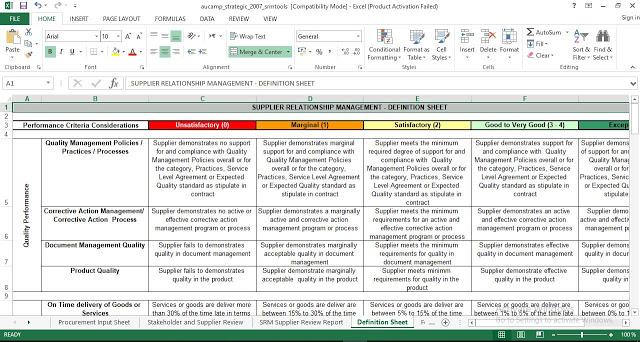 Supplier Relationship Management Excel Template