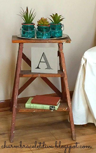 Succulents in blue mason jar display