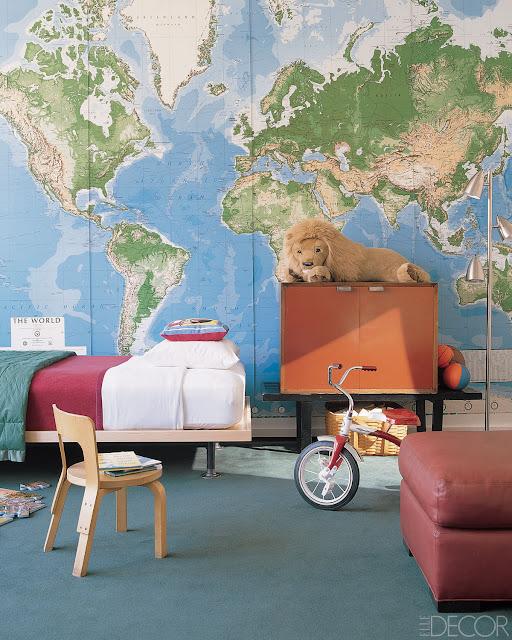 världskarta tapet barnrum bartapet kille