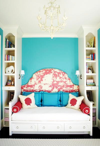 Turquoise Paint A Toile Headboard And Tole Chandelier That S All It Takes To Transform Simple Ho Hum Room Into Something Really Spectacular