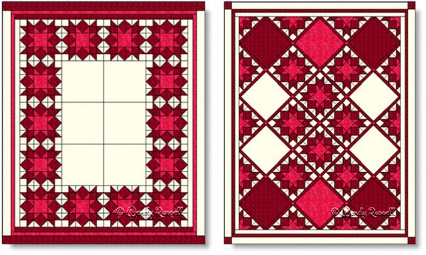 Quilts designed using the LOVE IN THE MIST quilt block - images © Wendy Russell