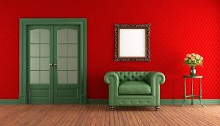 сочетание красного и зелёного в квартире