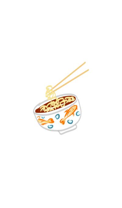 Lovely Noodles & Fish Bowl Ramen Blue
