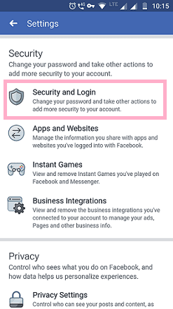 security and login facebook app