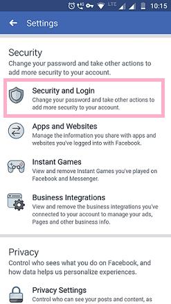 security and login facebook app