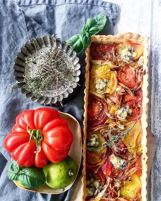 Tarte à la tomate et Fourme d'Ambert