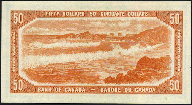 Canada money currency 50 Dollars banknote 1954 Seascape Scene